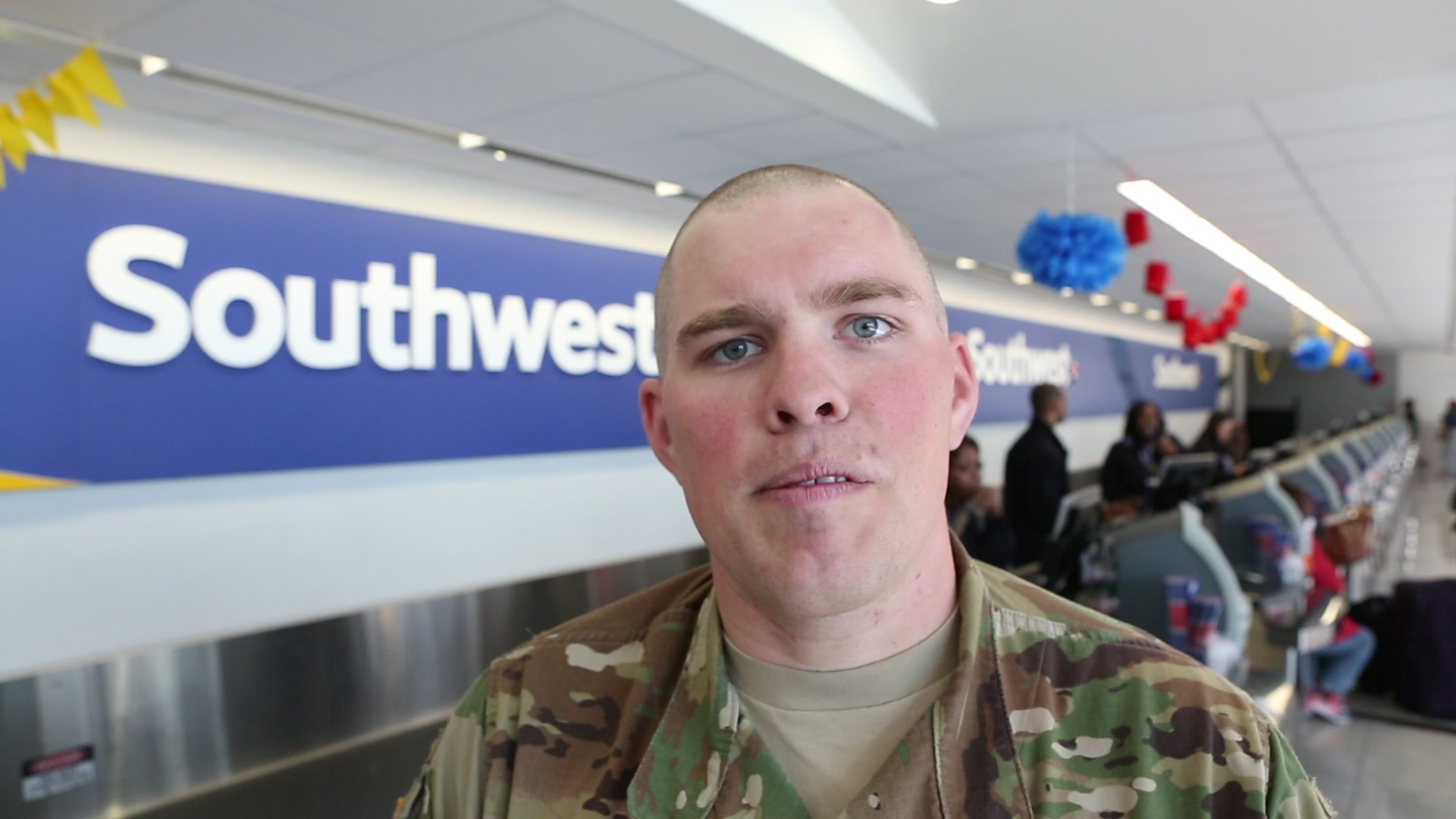 The Southwest Airlines team at BWI hosted U.S. Army SGT Clarence Dompierre on Wednesday, April 20 for his second reenlistment ceremony